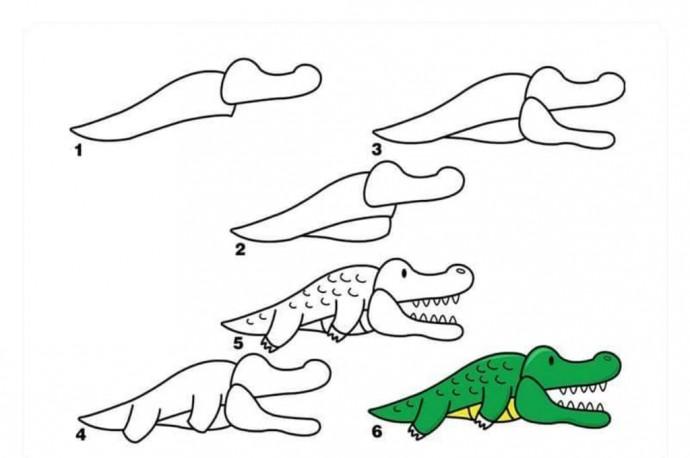Рисуем с детьми крокодила
