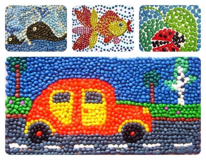 Мозаика из мелких пластилиновых шариков