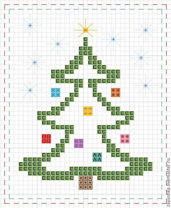 Подборка милых новогодних схем вышивки в детскую копилочку: ёлочки