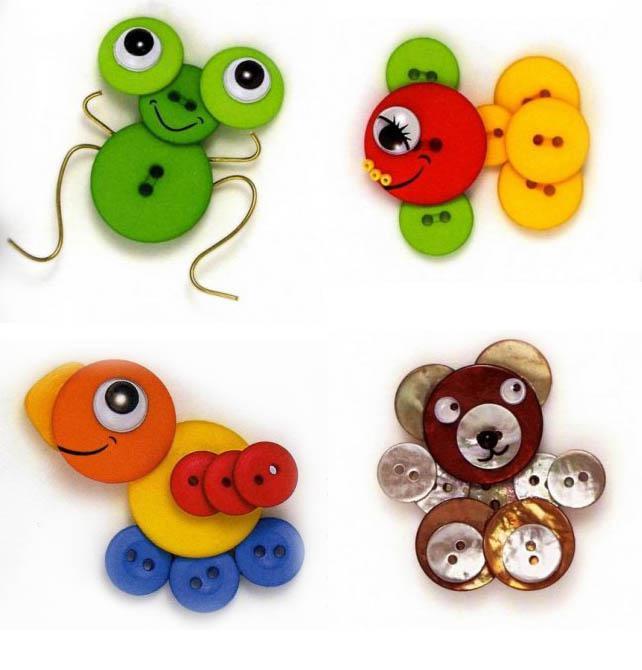 Поделки из пуговиц для детей: животные