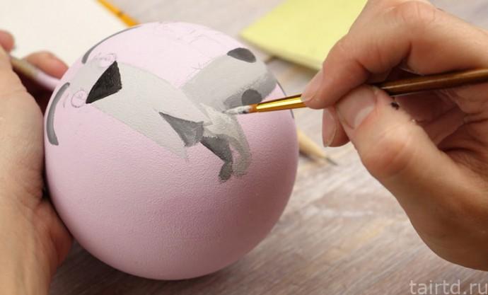 Роспись новогодних ёлочных шаров 5