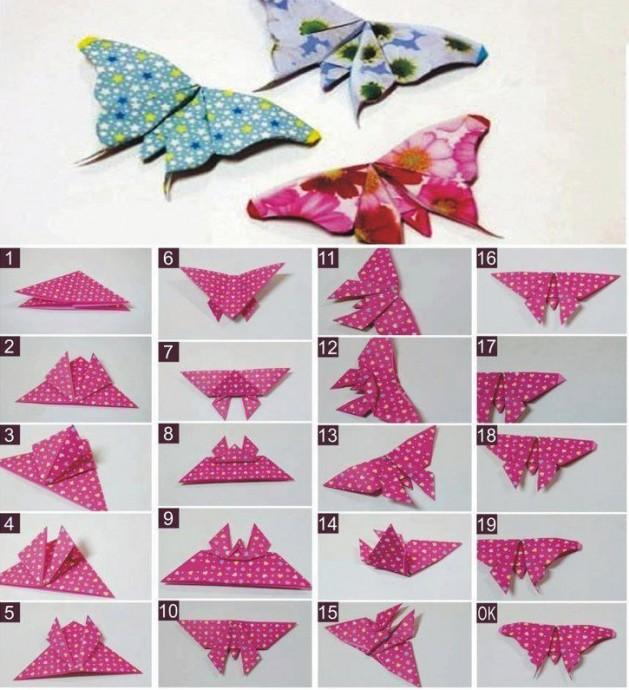 Бабочки из бумаги в технике оригами 0