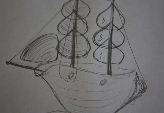 Кораблик из морских ракушек 2