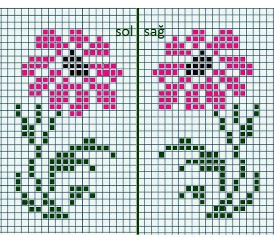 Простые схемы цветов для вышивки с детьми