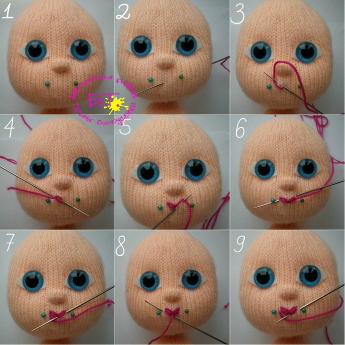 Как красиво вышить кукле губки