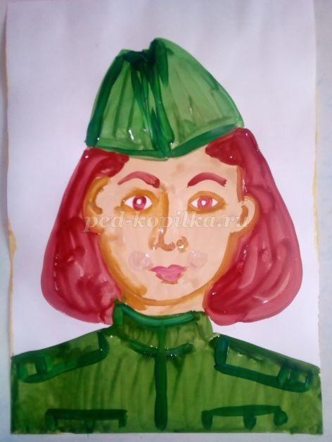 Рисуем с детьми гуашью девушку в пилотке