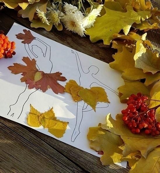 Пачки балеринам из разноцветных осенних листьев
