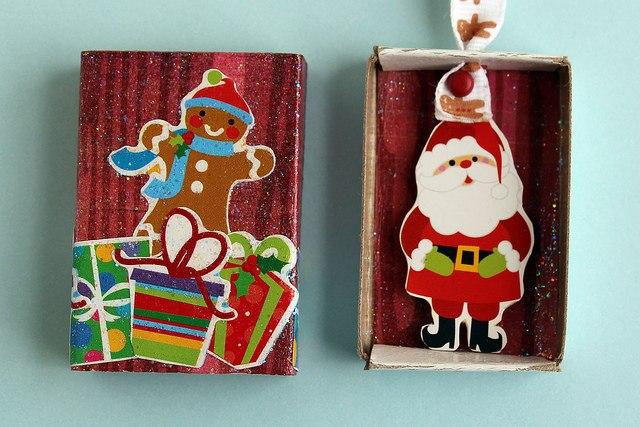 Необычные елочные игрушки из спичечных коробков 3
