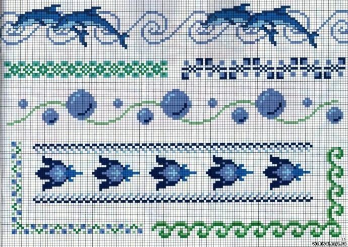 Морская тематика в детской вышивке