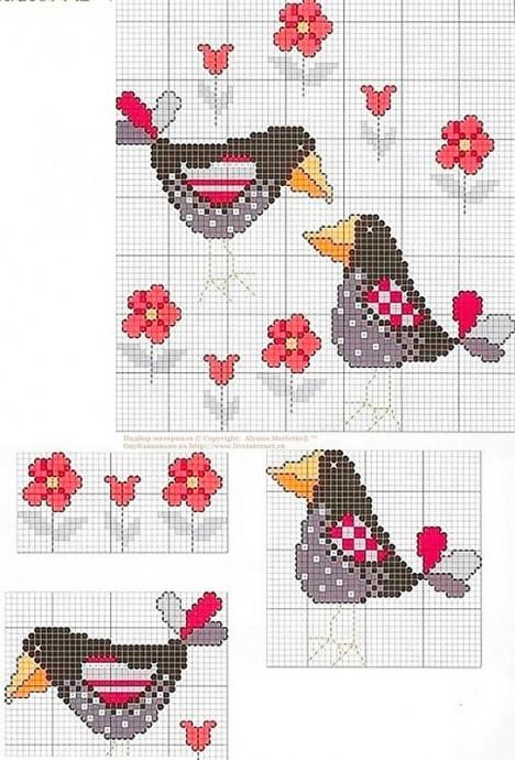 Схемы вышивки птичек с детьми 3