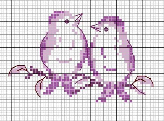 Схемы вышивки для детей: птички 2