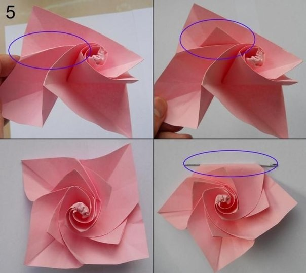 Роза из цветной бумаги