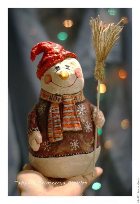 Снеговик в технике ватного папье-маше 0