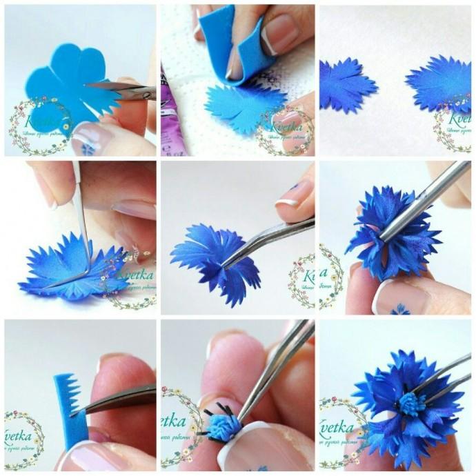 Как сделать цветы из бумаги: васильки