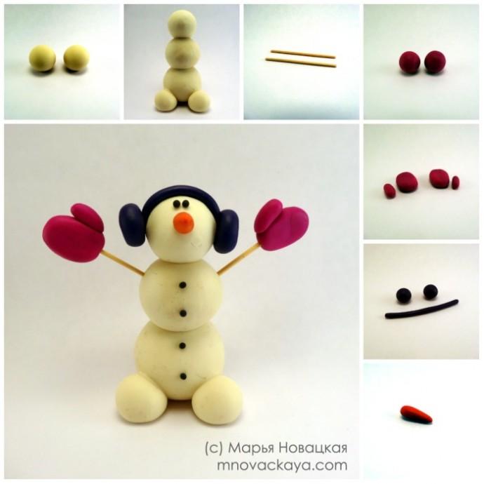 Как слепить из пластилина снеговика