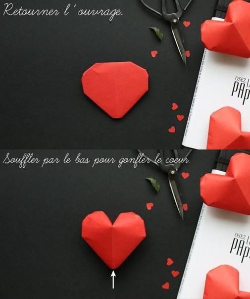 Объемное сердце из бумаги 9