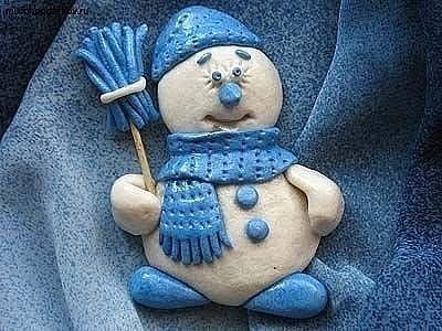 Снеговик из соленого теста