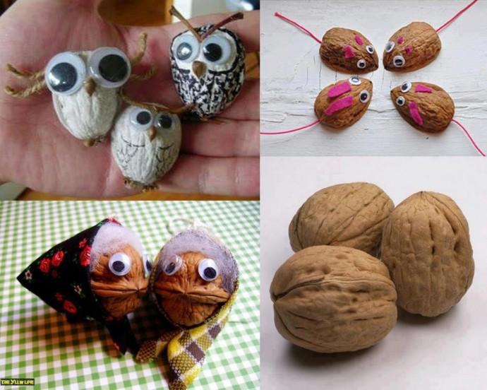 Забавные поделки из ореховой скорлупы
