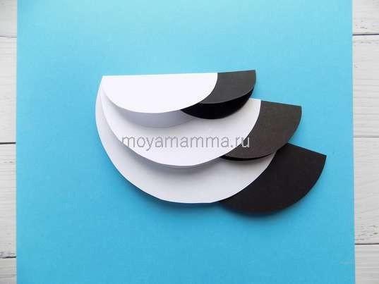 Необычный аист из бумажных кругов