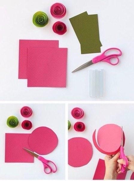 Очень простая техника создания цветов из бумаги