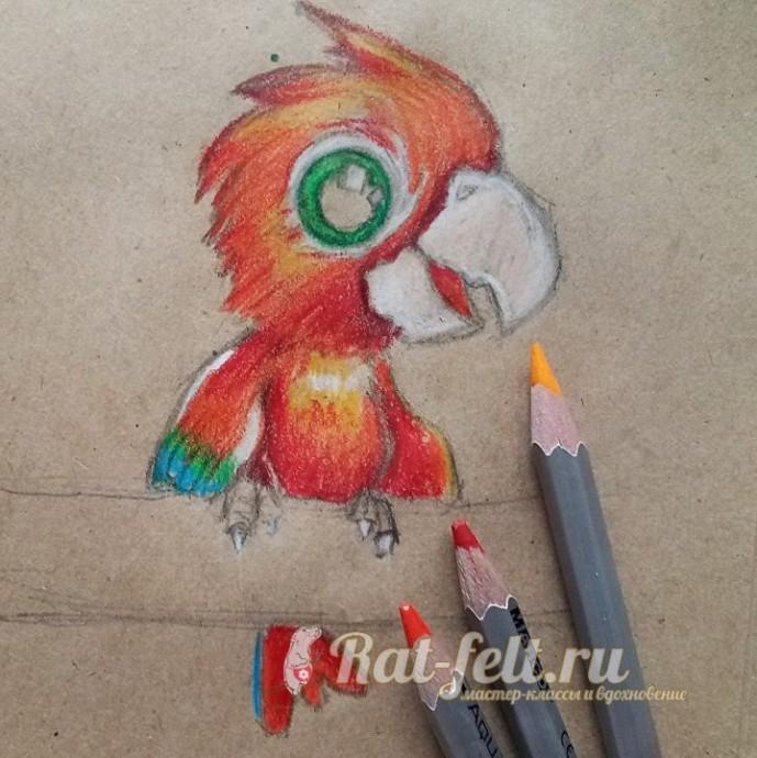 Рисуем с детьми попугайчика