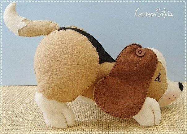 Выкройка мягкой собачки-игрушки из фетра