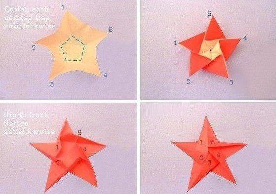 Звёздочки-оригами детскими руками