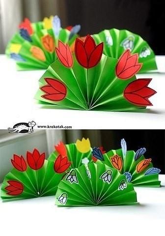 """Объемная открытка """"Поляна с цветами"""""""