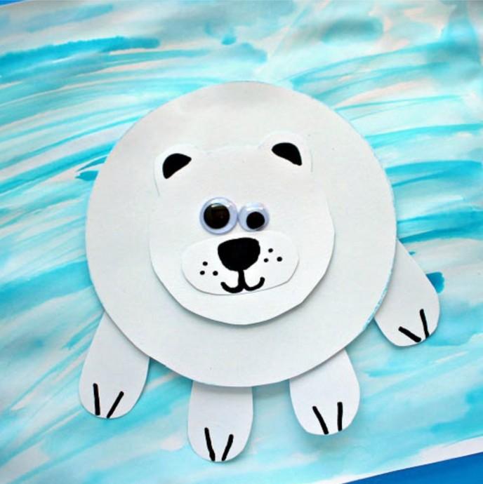 """Аппликация для малышей """"Полярный медведь"""""""