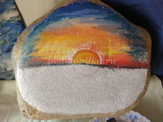 """Роспись на камне """"Солнце садится в море"""""""