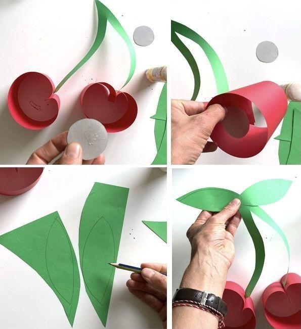 Огромные вишни из цветной бумаги