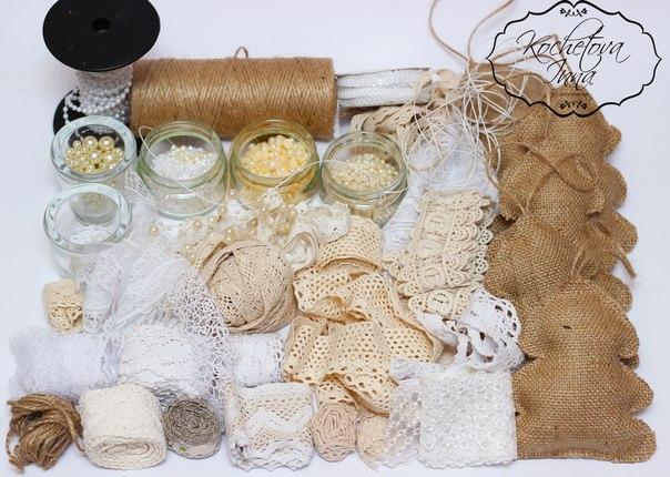 Ёлочки-подвески из мешковины