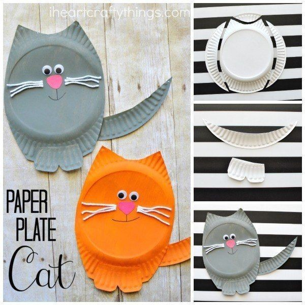 Котики из одноразовых тарелок