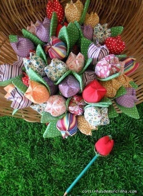 Шьём с детьми текстильные тюльпаны