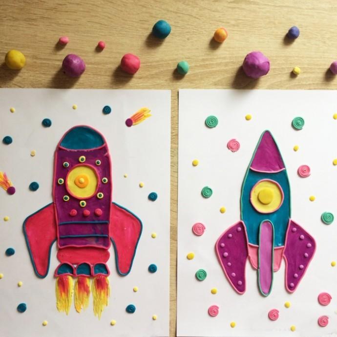 Ракета, нарисованная пластилином