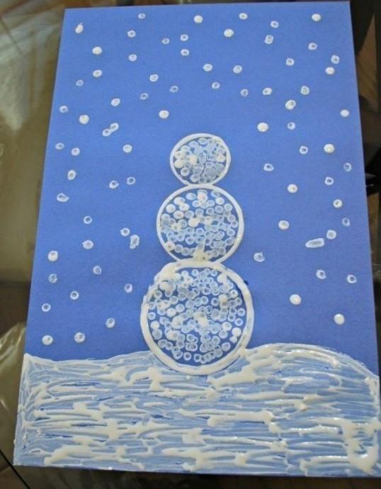 Зимнее рисование ватными палочками 5