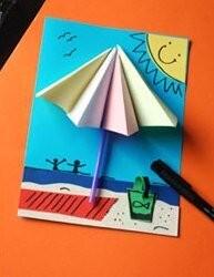 Объемный пляжный зонтик из цветной бумаги