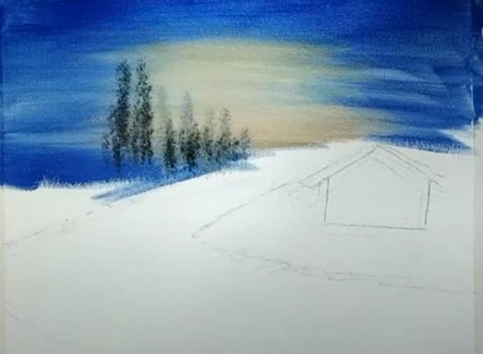 Дом в снегу у реки