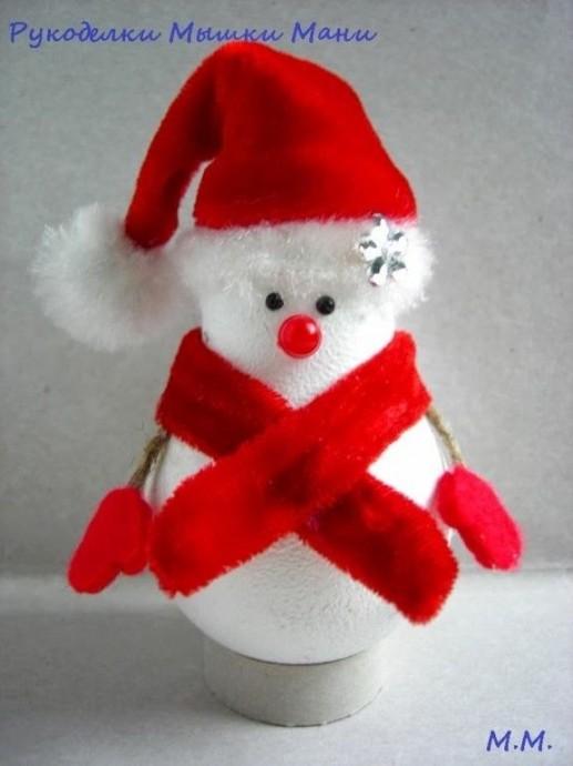 Снеговик из перегоревшей лампочки 5