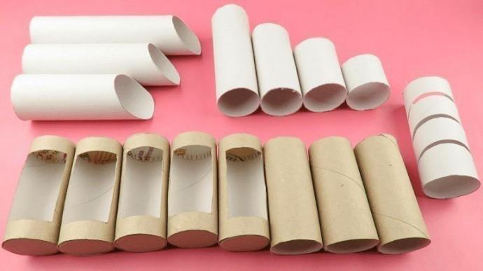 Подставка для канцтоваров из картонных рулонов