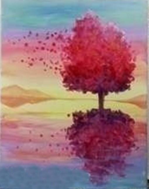 Рисуем с детьми дерево в красных тонах