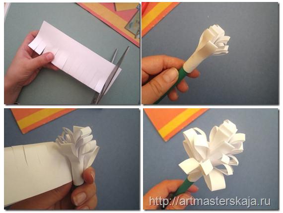 Необычный вариант цветка из бумаги