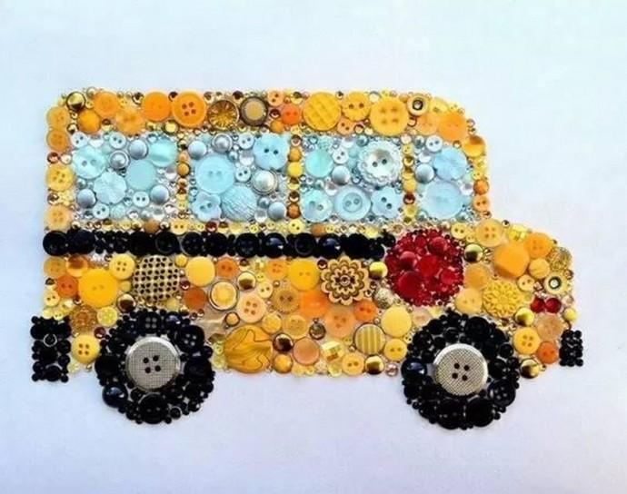 Поделки из пуговиц для детей: транспорт