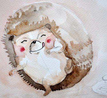 Рисуем с детьми ёжика акварелью