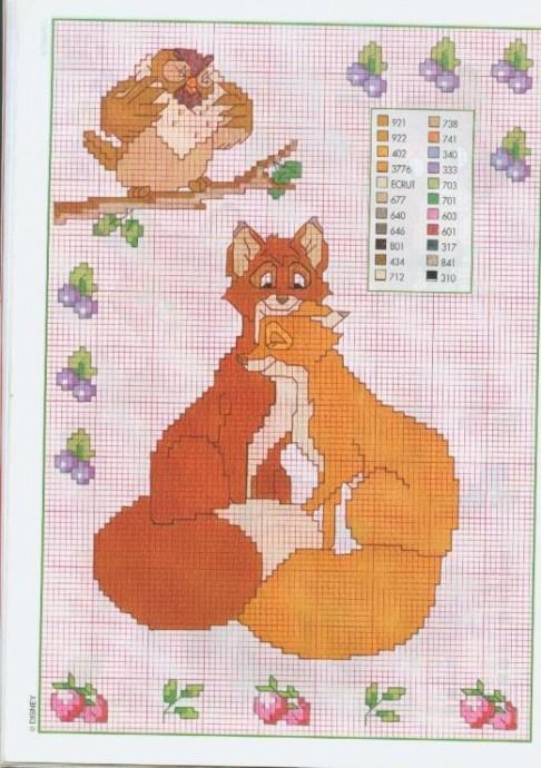 Подборка схем детской вышивки с маленькими рыжими лисятами