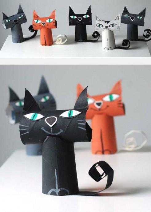 Котики из картонных втулок