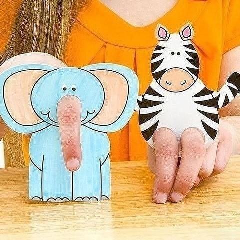 Раскраска для пальчикового театра детскими руками