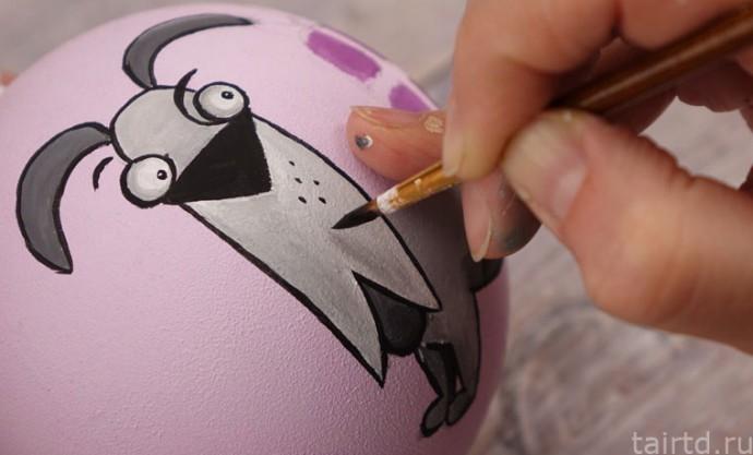 Роспись новогодних ёлочных шаров 7