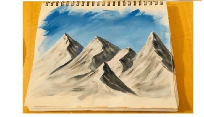 Учим детей рисовать горы