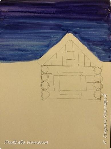 Рисуем с детками домик в деревне среди зимы